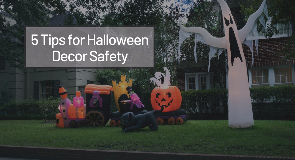 image of outdoor halloween decorations in a home's yard